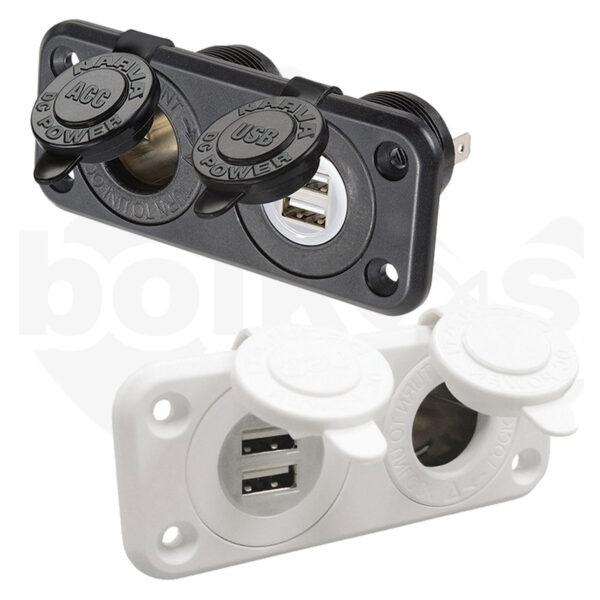 Πρίζα Διπλή Φόρτισης USB & Αναπτήρα Osculati